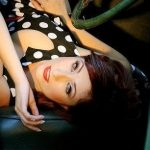 1950's Pinup in Morris Minor Car by Adelaide mobile hair and makeup artist Make-Overs Australia