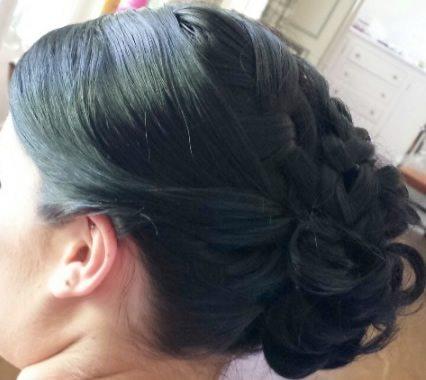 wedding hair styles - Curled side swept bun - 01