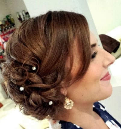 wedding hair styles - Curled side swept bun - 02