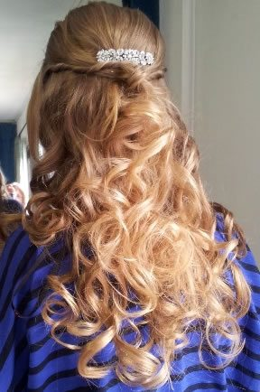 wedding hair styles - Half up and half down with cascading curls