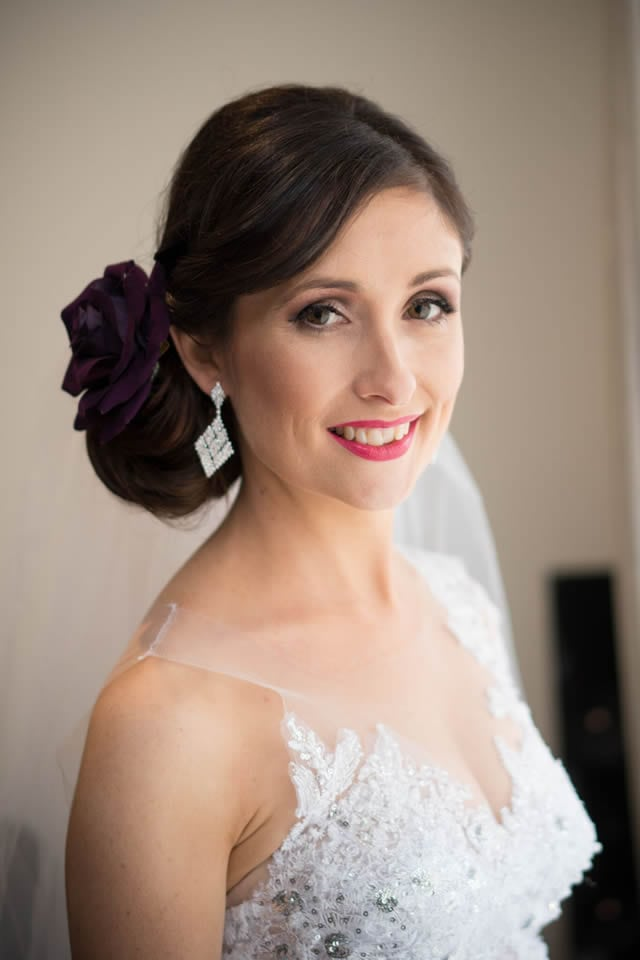 Wedding hair classic side bun and airbrush makeup